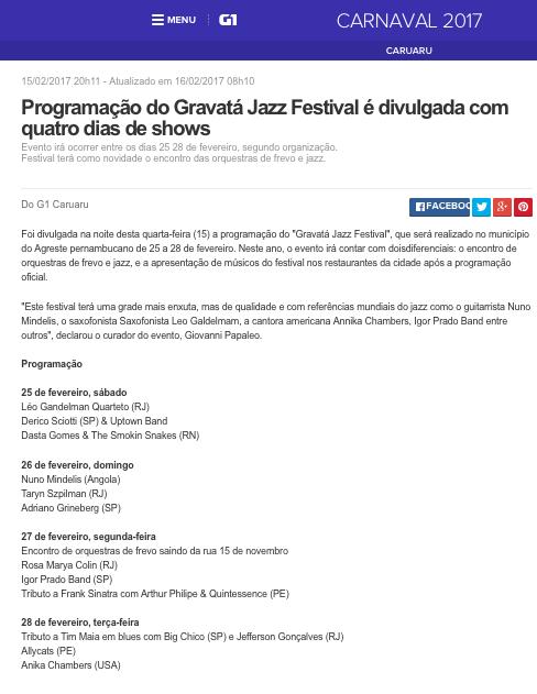 2017.02.15 G1 Leo Gandelman Gravatá Jazz Festival