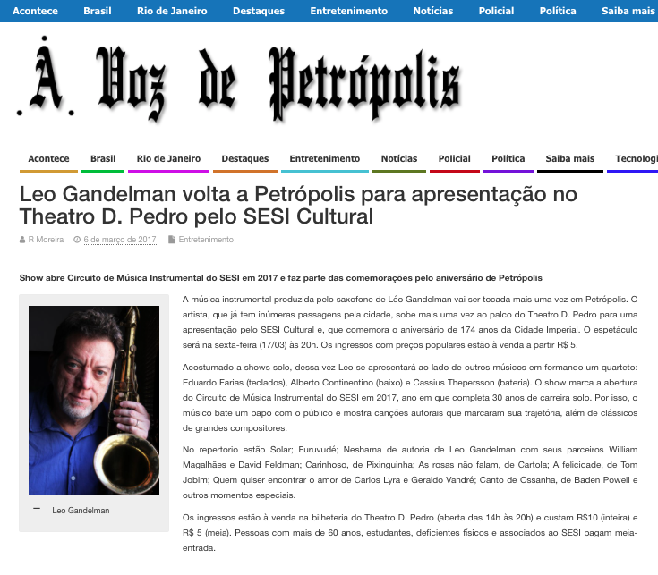 2017.03.06 Leo Gandelman A voz de Petrópolis 1