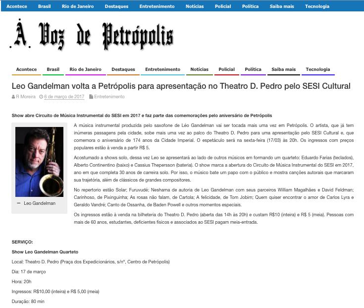 2017.03.06 Leo Gandelman A voz de Petrópolis 2